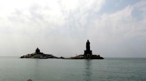 swami vivekananda rock meorial and thiruvalluvar statue view from the boat in kanyakumari